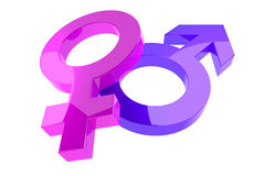 3d femal and male sign. On white background Stock Photo