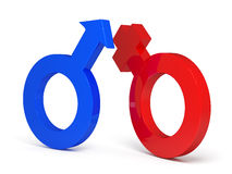 3d femal and male sign on white background Royalty Free Stock Photo