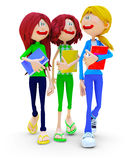 3D female students Stock Photography