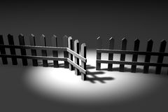 3d fence. In a spot of light Royalty Free Stock Photography