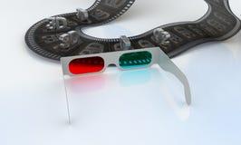 3D Fernsehapparat - Gläser und abstrakter Film Stockbild