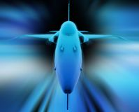 3D fighter jet. Front view. Computer 3D render of figther jet. Motion blur and abstract background Royalty Free Stock Photos