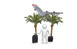3D figure with airplane Royalty Free Stock Image