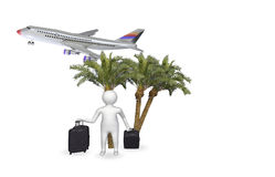 3D figure with airplane Stock Photo