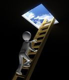 3D Figure Climbs Ladder to Sky. High Quality 3D render of figure climbing golden ladder up and out of dark room towards bright blue skies ubove Royalty Free Stock Image