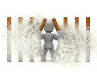 3D Figure Escaping A Cigarette Prison With Explosion Effect Royalty Free Stock Photos