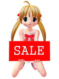 3D Figure With Sale Sign. 3D Render of an Figure with Sale Sign Royalty Free Stock Image
