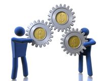 3D figures carrying monetary cogs. 3D figures carrying dollar, euro and pound signs Royalty Free Stock Image