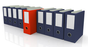 3d file box. 3d set of office files with one unique red file Stock Image