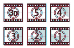 3d film countdown. Film countdown with 3d effect Stock Photography