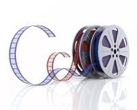 3d Film reels. Cinema film reels on white (3d render Stock Photo