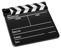3d film slate 2. 3d film slate isolated on a white background. Vector illustration Royalty Free Stock Image