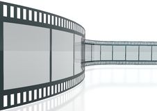 3d Film Strip. 3d image Film Strip isolated over white background on a reflective floor Royalty Free Stock Photos