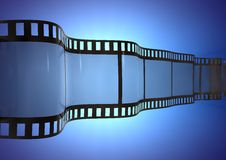 3d Film Strip. 3d image of a wavy  Film Strip  over a blue glowing background Royalty Free Stock Image