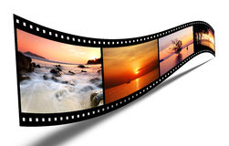3D film strip with nice pictures. Sunset landscape Royalty Free Stock Images