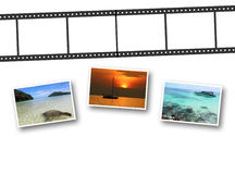 3D film strip and photos Stock Photos