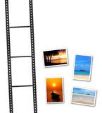 3D film strip and photos. With a space for text Royalty Free Stock Photos