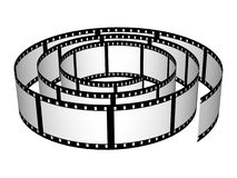 3D Film Strip Roll Isolated. 3D computer generated render of a film strip roll isolated on white Stock Photography