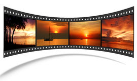 3D Film Strip With Nice Pictures Royalty Free Stock Image