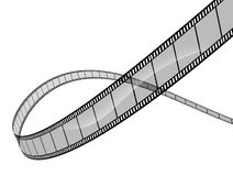 3d film on white. Background representing cinema and movie directing as a the film industry symbol with a spiral curved roll of film floating in dimensional Stock Images