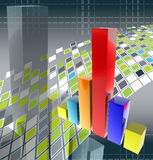 3D finance graph. 3D shiny finance graph illustration render Royalty Free Stock Images