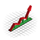 3D Financial Diagram. 3D diagram with red arrow on green stand showing upward trend Stock Photos