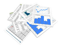 3d financial documents. 3d render of various financial reports and sheets Royalty Free Stock Image