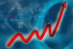 3d financial graph. In business background Stock Photos