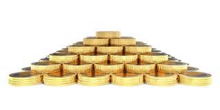 3d finansowy moneta ostrosłup Obraz Royalty Free