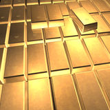 3D Fine Gold. 3D illustration looks many fine gold bars Royalty Free Stock Photos