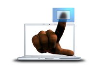 3D finger pushing transparent. Button from laptop screen Stock Images