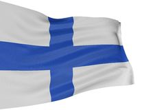 3D Finnish flag. With fabric surface texture. White background Royalty Free Stock Photos