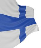 3D Finnish flag. With fabric surface texture. White background Royalty Free Stock Photo
