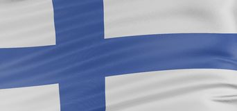 3D Finnish flag. With fabric surface texture. White background Royalty Free Stock Images
