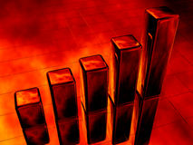 3d fire diagram bar chart. Red Royalty Free Stock Photography