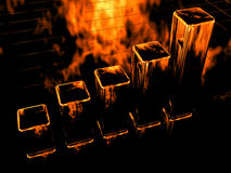 3d fire diagram bar chart Stock Photo