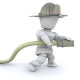 3D firefighter man. With helmet and hose isolated Royalty Free Stock Photography