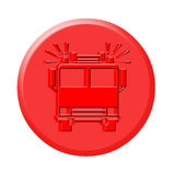 3D Firetruck button. Red 3d firetruck button icon on white background Stock Image