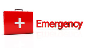 3d First aid kit and amergency. First aid kit on white background with reflection Royalty Free Stock Images