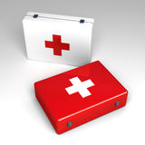 3d First aid kit isolated on white. Background Stock Photos