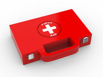 3d first medical kit. 3d illustration of first aid box case Stock Images