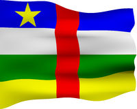 3D Flag of Central African Republic. Isolated in white Stock Images