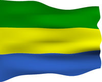 3D Flag of Gabon Stock Photo