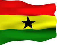 3D Flag of Ghana. Isolated in white Stock Photography