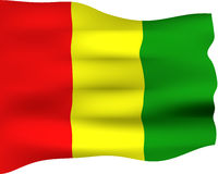 3D Flag of Guinea Royalty Free Stock Photos