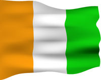 3D Flag of Ivory Coast Royalty Free Stock Photography