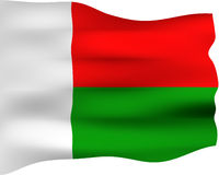 3D Flag of Madagascar Stock Images