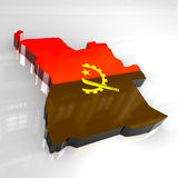 3d flag map of angola Royalty Free Stock Photo
