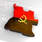 3d flag map of angola Royalty Free Stock Photos