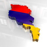 3d flag map of Armenia Stock Photography